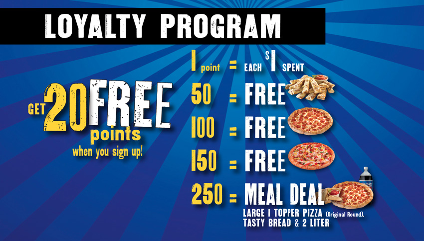 tiffany's pizza loyalty rewards program points chart
